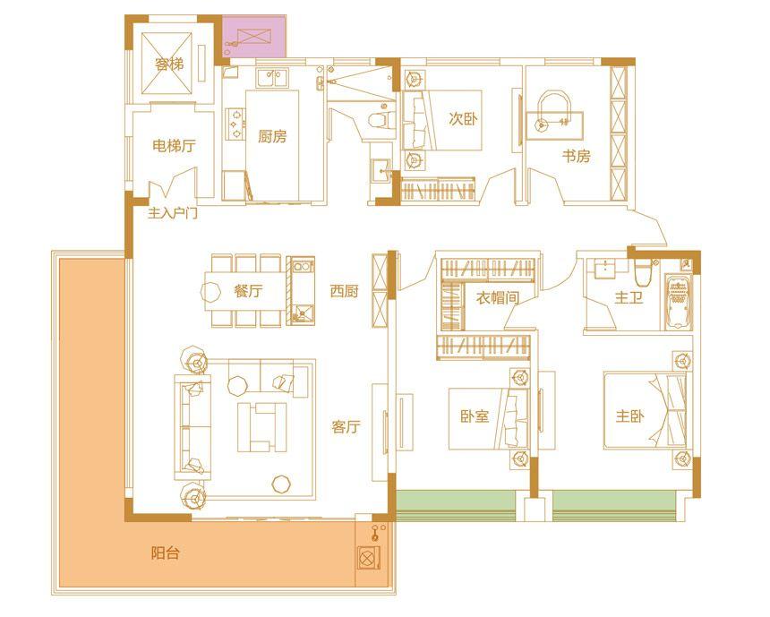 鹭山湖Y3户型4室2厅178平米