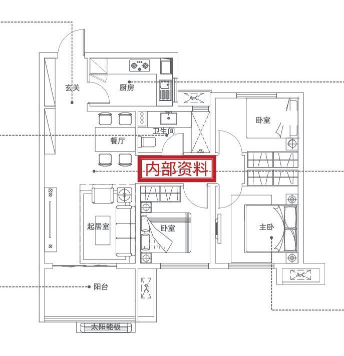 万科红A户型3室2厅94平米