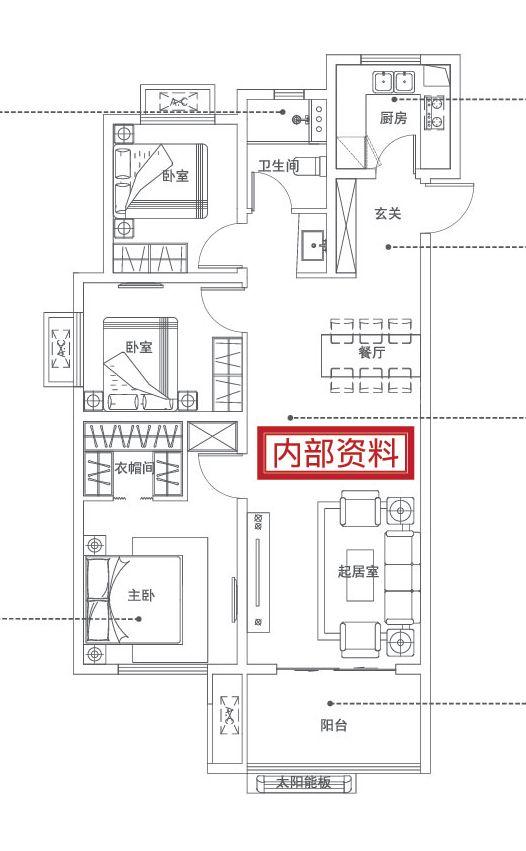 万科红B户型3室2厅109平米