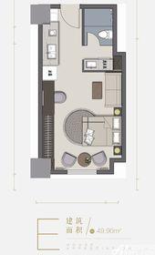 德城新天地E1室1厅49.9㎡
