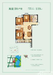 玉龙湖畔高层B83室2厅119㎡