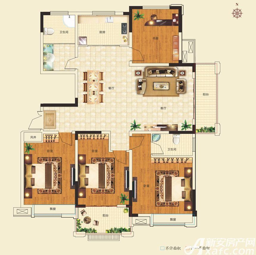名城御花园1#3#6#楼152-158㎡户型4室2厅158平米