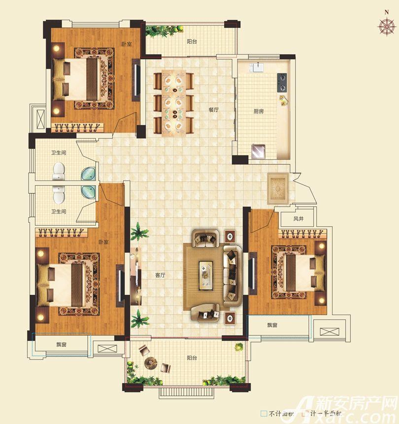 名城御花园1#楼138㎡户型3室2厅138平米