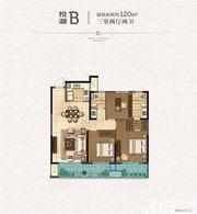绿城玫瑰园高层B户型3室2厅120㎡