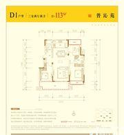 邦泰壹號院D1户型3室2厅113㎡