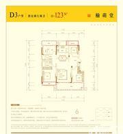 邦泰壹號院D3户型4室2厅123㎡