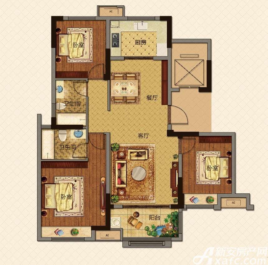 美的城高层E118㎡户型3室2厅118平米