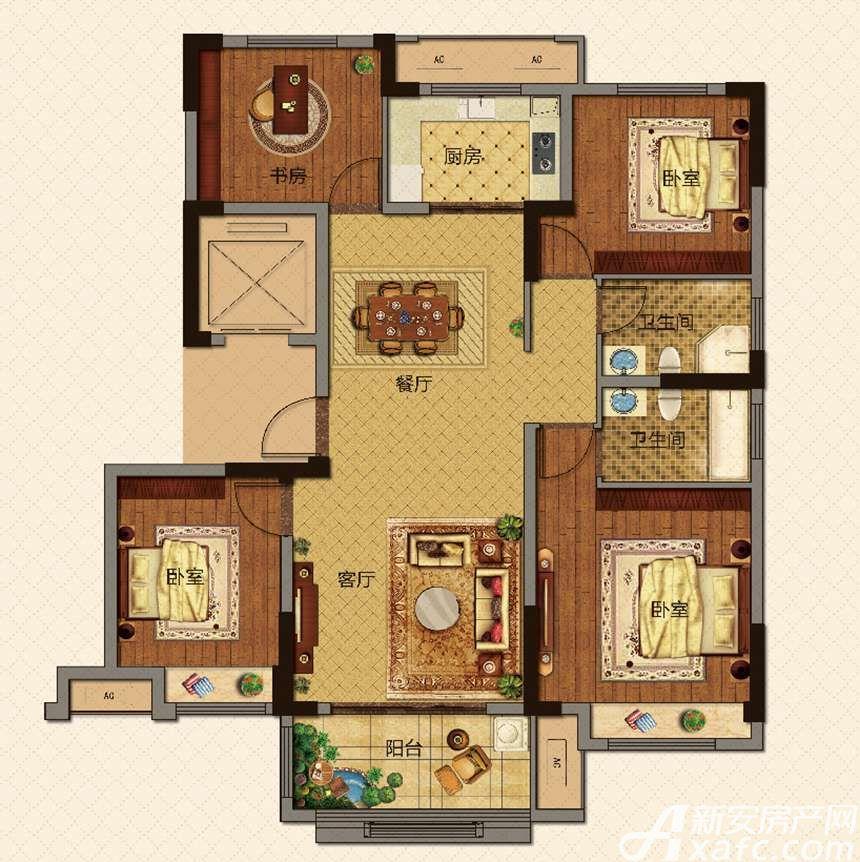 美的城高层F129㎡户型4室2厅129平米