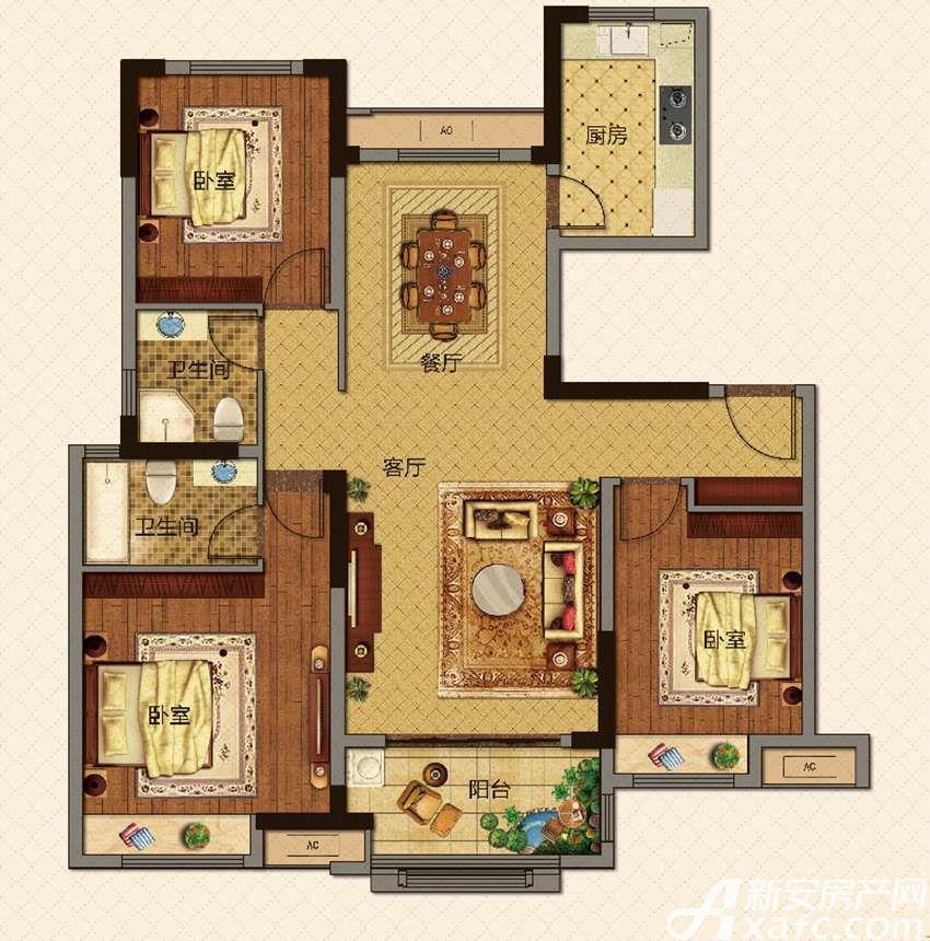 美的城洋房A118㎡户型3室2厅118平米