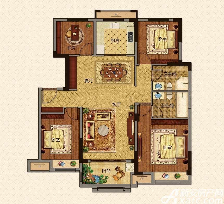 美的城洋房B129㎡户型4室2厅129平米