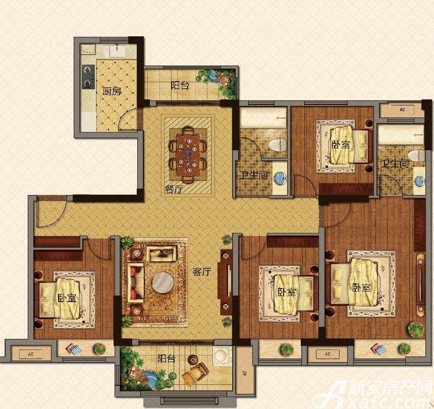 美的城洋房C136㎡户型4室2厅136平米