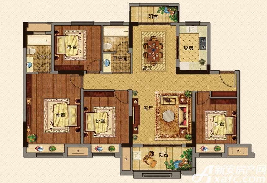 美的城洋房D142㎡户型4室2厅142平米