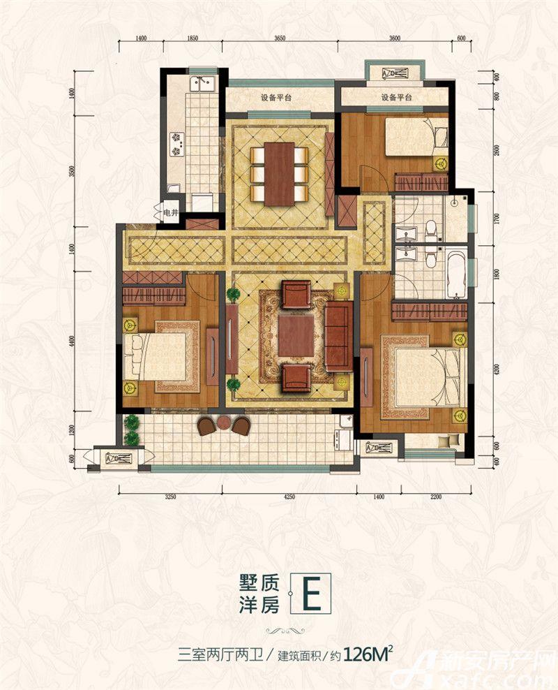 金大地滟澜公馆墅质洋房E3室2厅126平米
