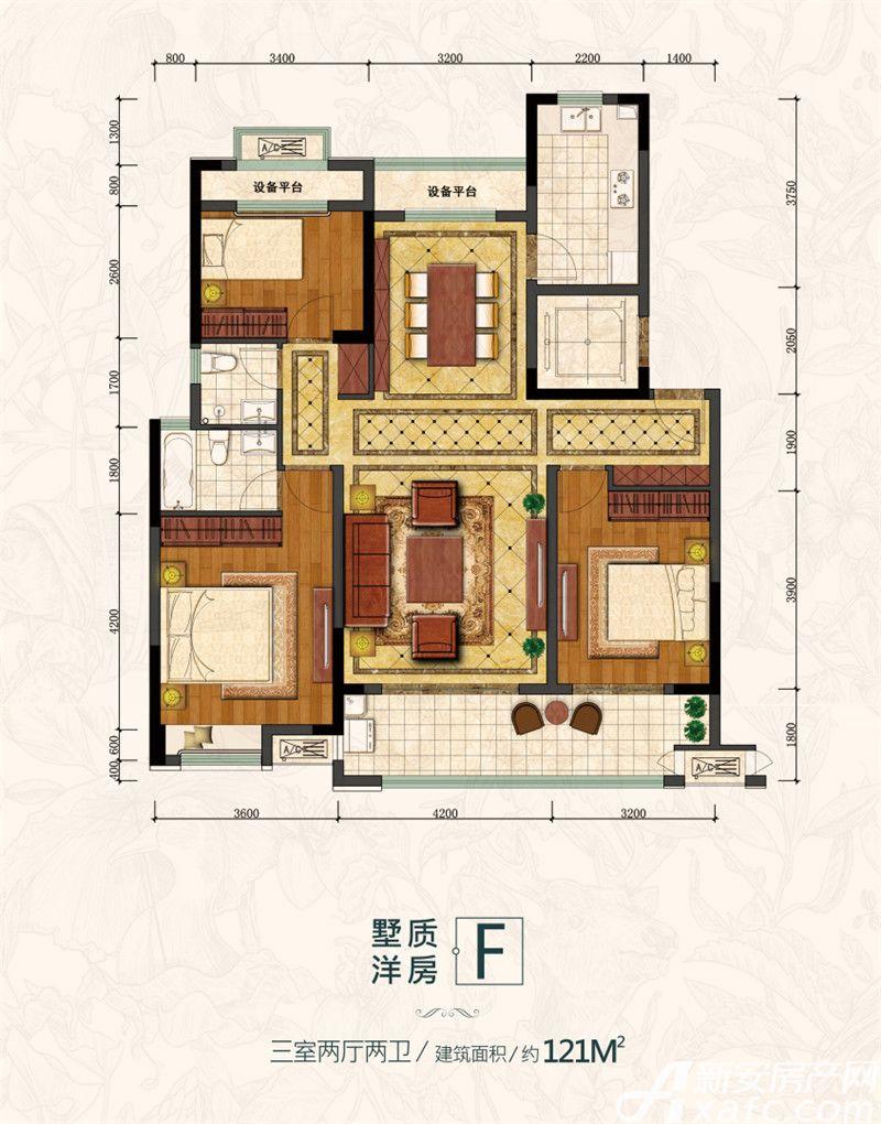 金大地滟澜公馆墅质洋房F3室2厅121平米