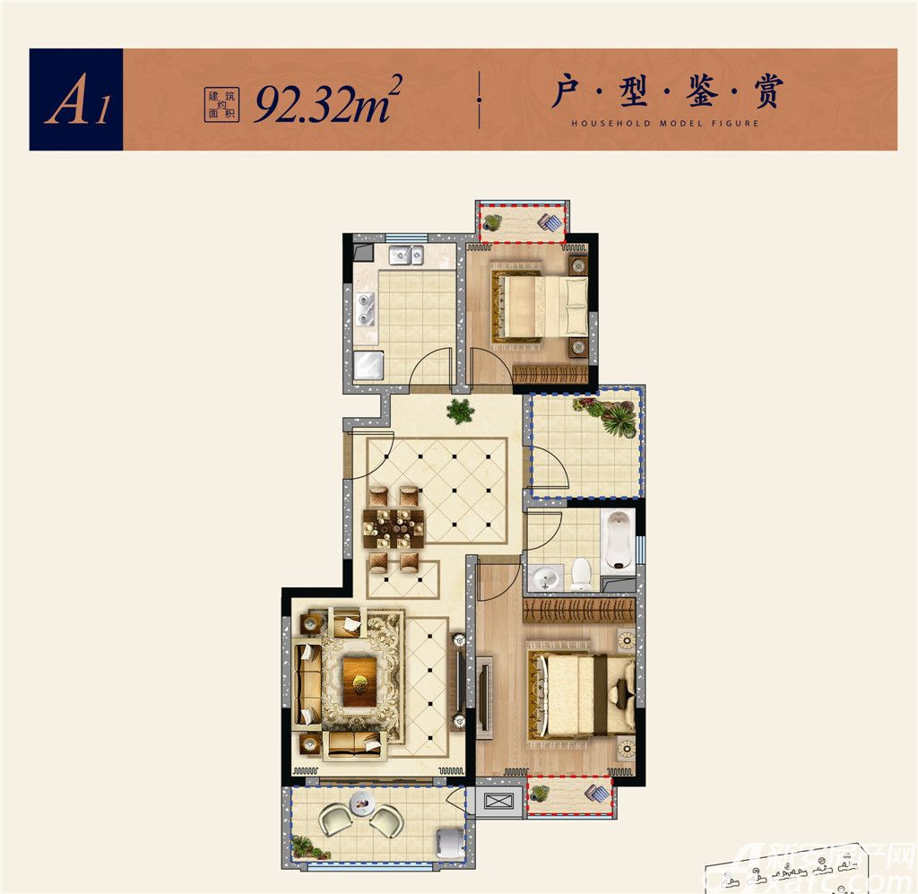 东方蓝海A12室2厅92.32平米