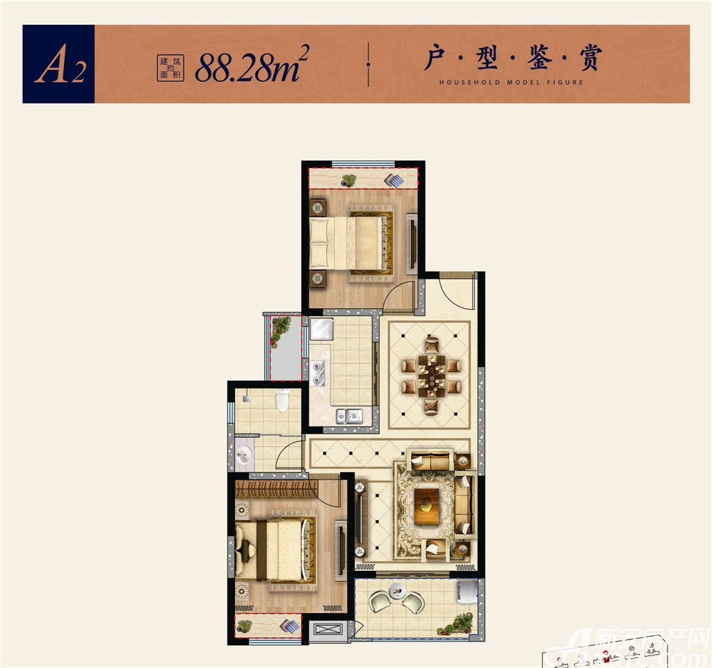 淮矿东方蓝海A22室2厅88.28平米
