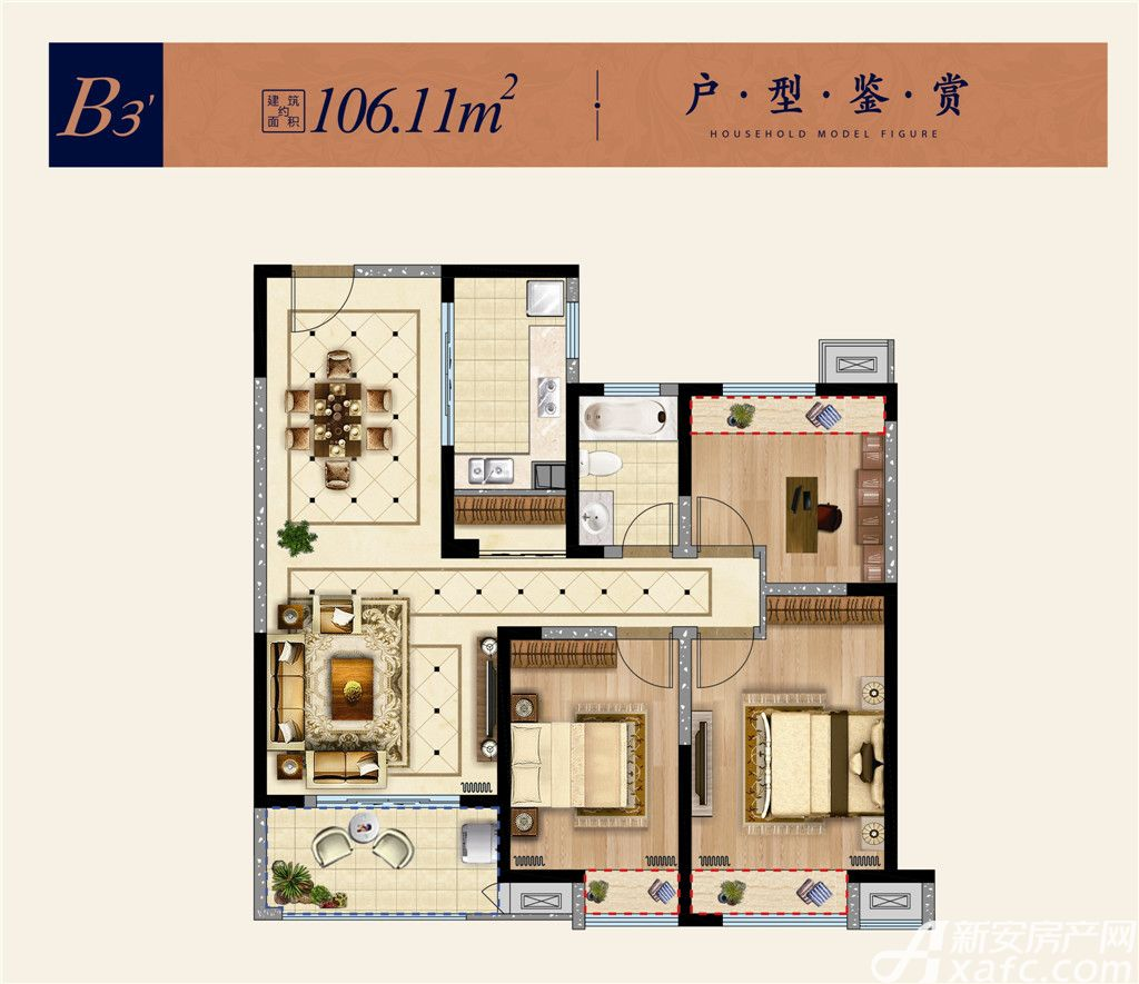 淮矿东方蓝海B33室2厅106.11平米