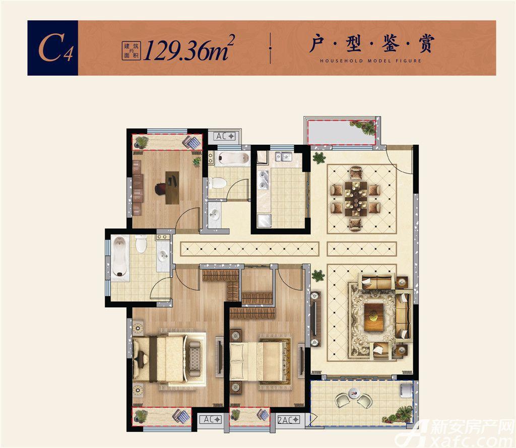 淮矿东方蓝海C43室2厅129.36平米