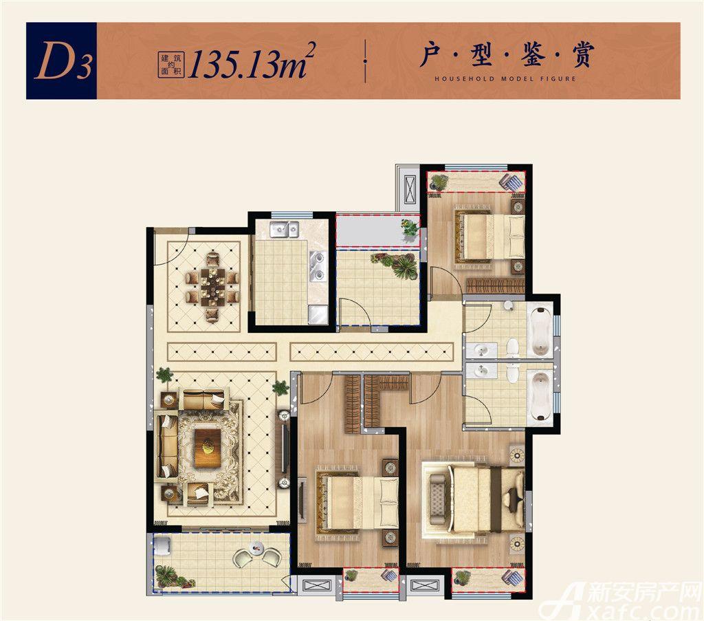 淮矿东方蓝海D33室2厅135.13平米