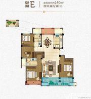 绿城玫瑰园洋房E户型4室2厅140㎡