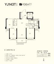 碧桂园仕府公馆YJ143T3室2厅106㎡