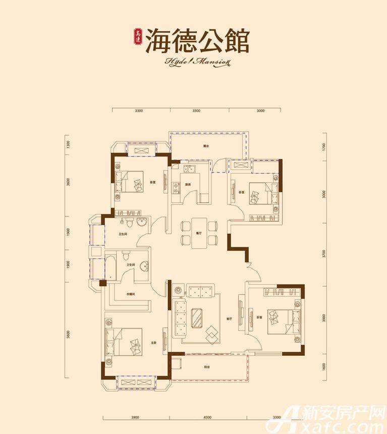 高速·海德公馆A3户型4室2厅147.22平米