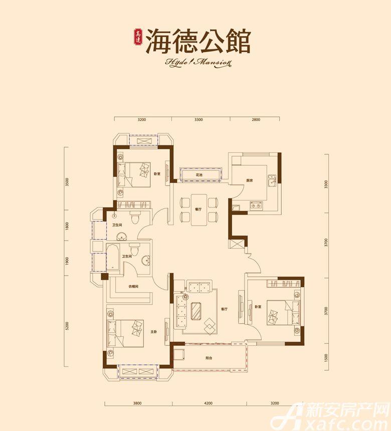 高速·海德公馆B5户型3室2厅129.56平米