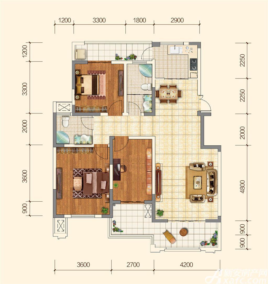 地矿龙山湖苑H3室2厅122平米