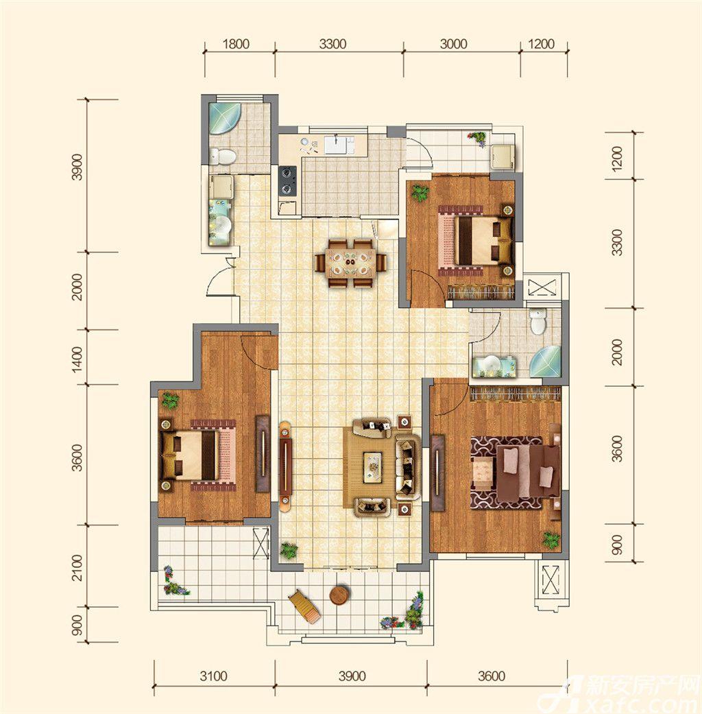 地矿龙山湖苑G3室2厅124平米