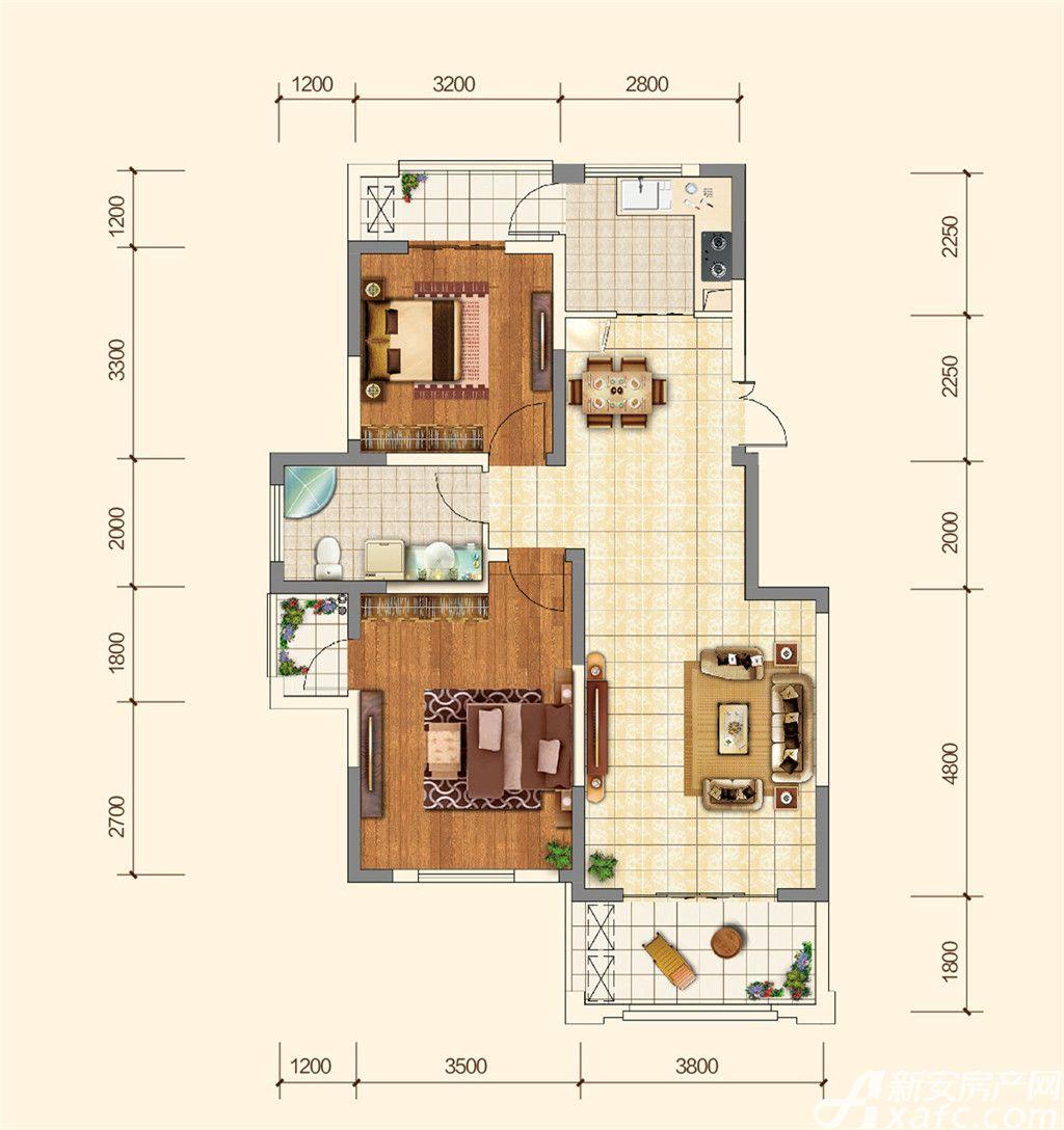 地矿龙山湖苑F2室2厅91平米