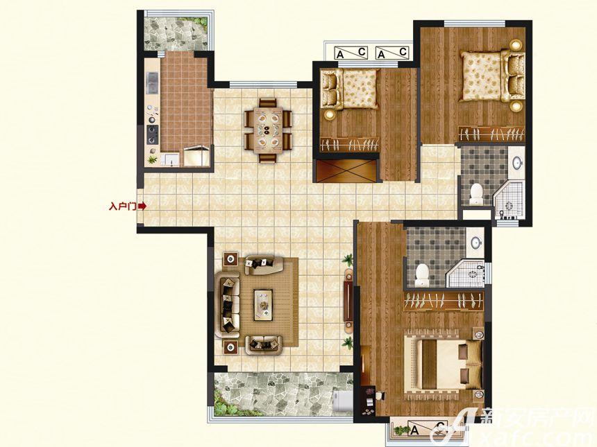 恒大珺睿府LR5-A3室2厅129.53平米