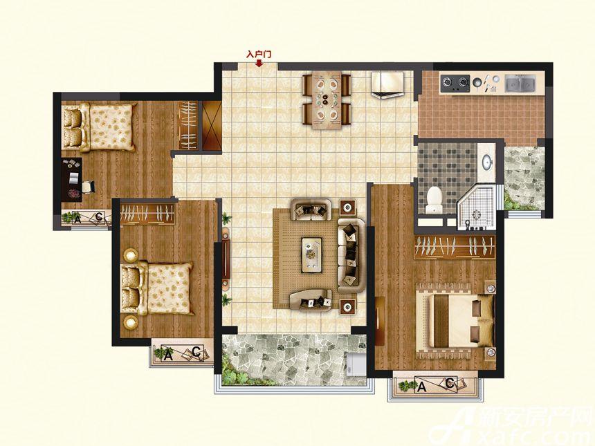 恒大珺睿府LR5-B3室2厅103.59平米