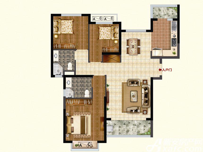 恒大珺睿府LR5-C3室2厅119平米