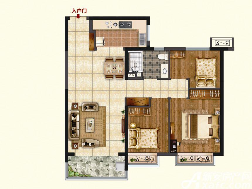 恒大珺睿府LR23-B3室2厅94.33平米