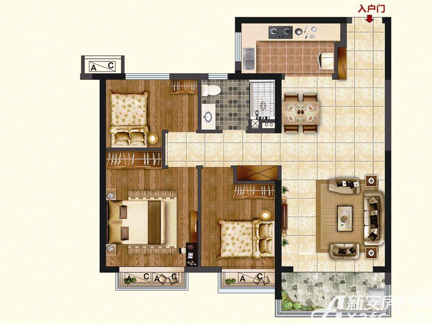 恒大珺睿府LR23-C3室2厅94.38平米