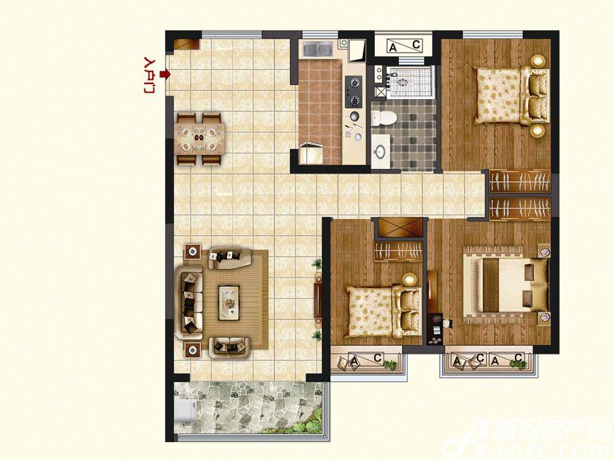 恒大珺睿府LR23-D3室2厅102.16平米