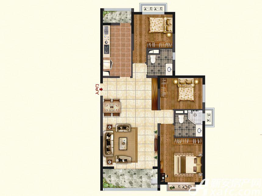 恒大珺睿府LR25-A3室2厅124.64平米