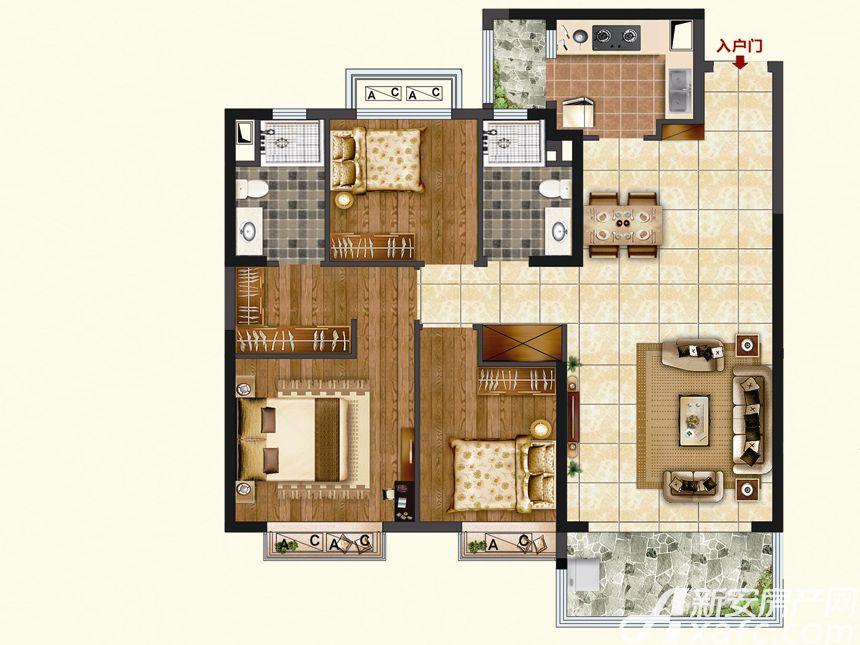 恒大珺睿府LR25-B3室2厅115.7平米