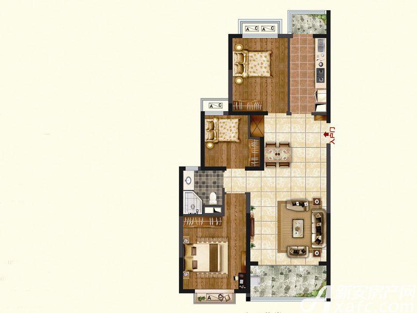 恒大珺睿府LR25-D3室2厅106.31平米