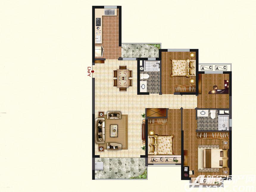 恒大珺睿府LR30-A4室2厅137.21平米