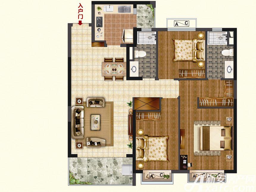 恒大珺睿府LR30-C3室2厅123.62平米
