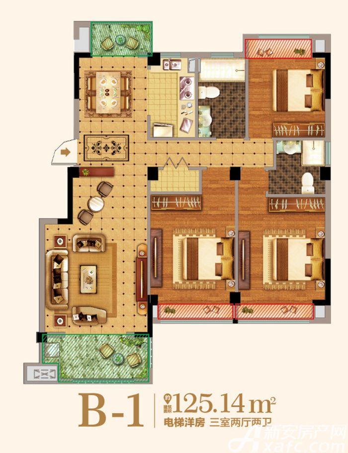 金马爱梦庄园B-13室2厅125.14平米