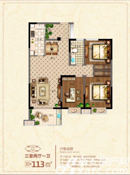 金御华府·紫云苑C23室2厅113平米