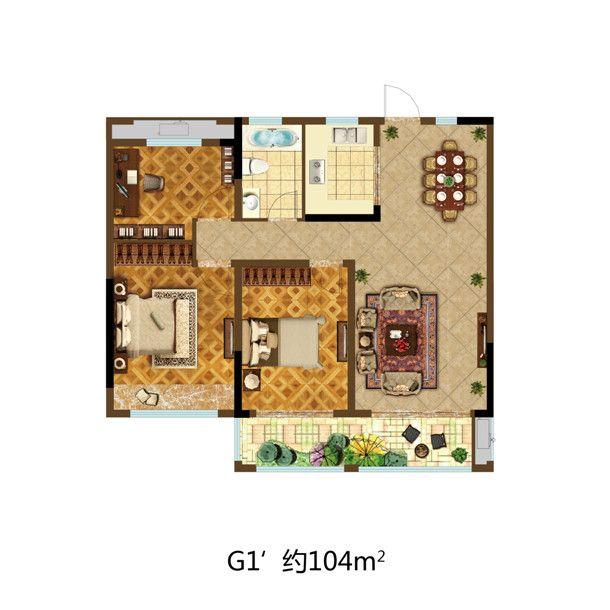 尚泽壹号院G1'3室2厅104平米