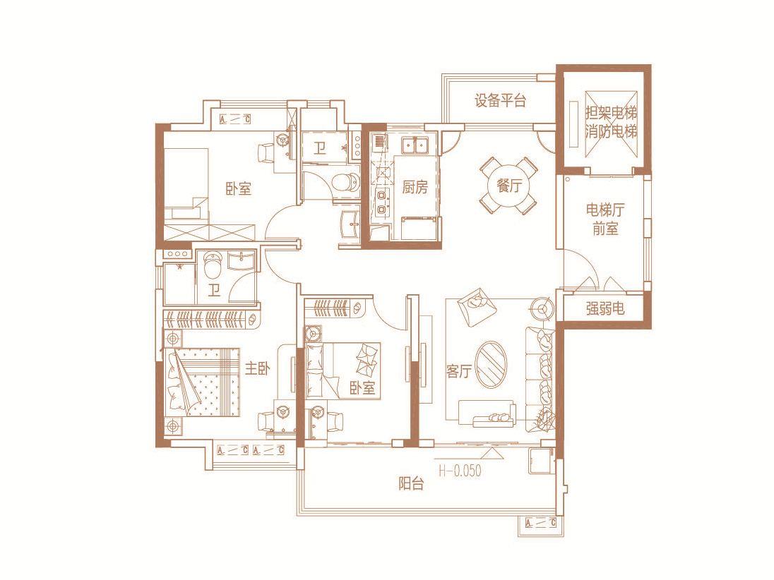 碧桂园·时代之光三房两厅两卫3室2厅122平米