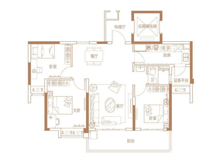 碧桂园·时代之光1123室2厅112平米