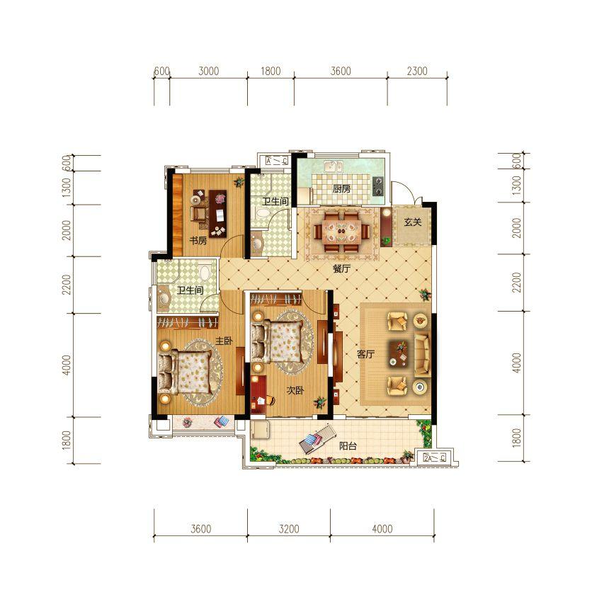 古井红郡B2户型3室2厅132平米
