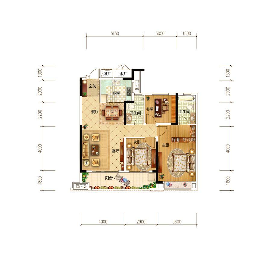 古井红郡A1户型3室2厅110平米