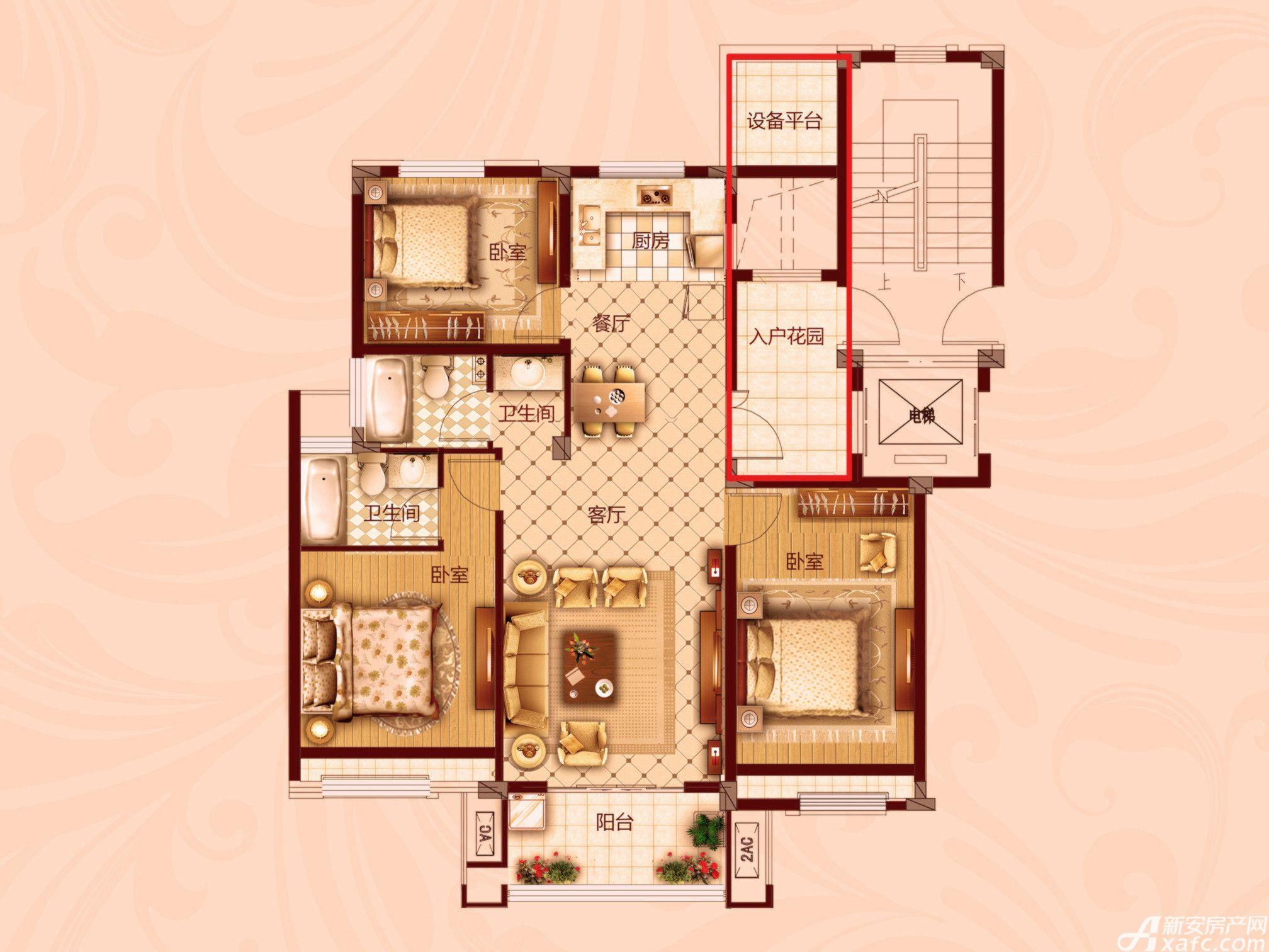 红星生活广场三室两厅两卫3室2厅114.3平米