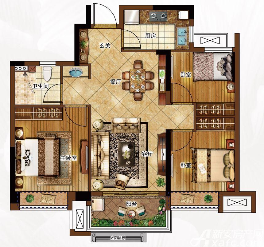 合景庐月湾86-89㎡G1户型图3室2厅86平米